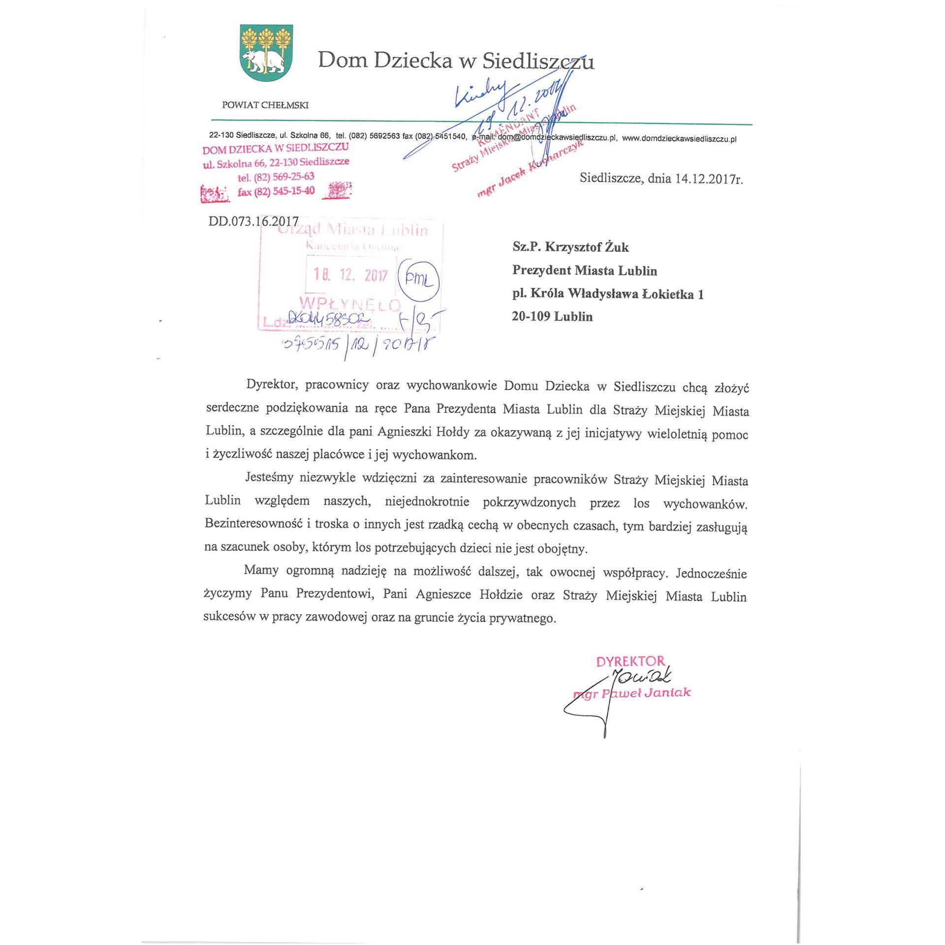 Wspaniały Podziękowania - Straż Miejska Miasta Lublin - Municipal Police in QP35